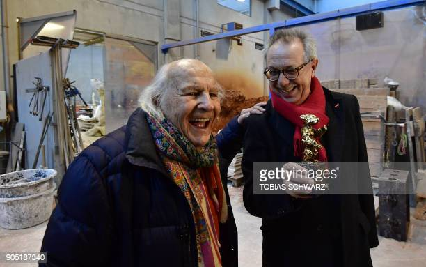 Thirdgeneration Hermann Noack jokes with Berlinale film festival Director Dieter Kosslick during the creation of the bear trophies for the upcoming...
