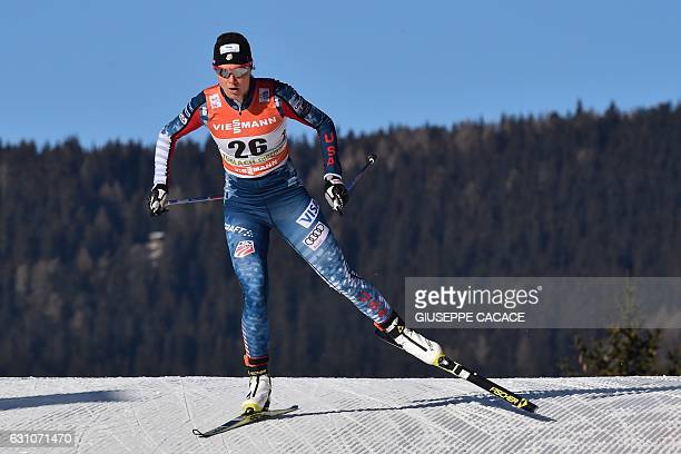 Thirdplaced US' Sadie Bjornsen competes in the Women's 5 km individual free competition of the Tour de Ski Cross Country World Cup on January 6 2017...