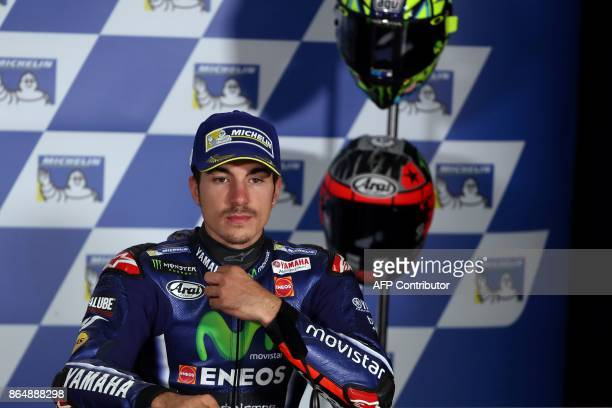 Third-places Yamaha rider Maverick Vinales of Spain prepares for a press conference at the end of the Australian MotoGP Grand Prix at Phillip Island...