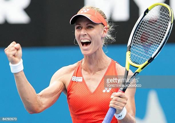 Third-seeded Elena Dementieva of Russia jubilates after upsetting top-seeded Serena Williams of the USA in the semi-final of the Sydney International...