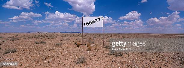 Thirsty Sign in Desert, Solitaire, Namibia, Africa