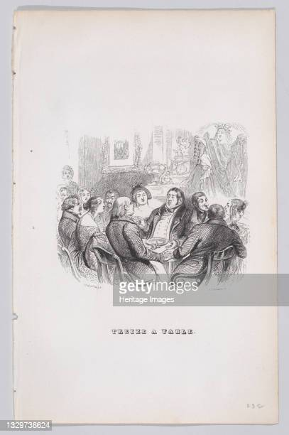 Thirteen at the Table from The Complete Works of Béranger, 1836. Artist John Thompson.