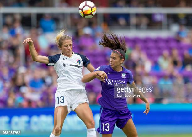 thirteens battle Orlando Pride forward Alex Morgan and North Carolina Courage defender Abby Dahlkemper during the NWSL soccer match between the...