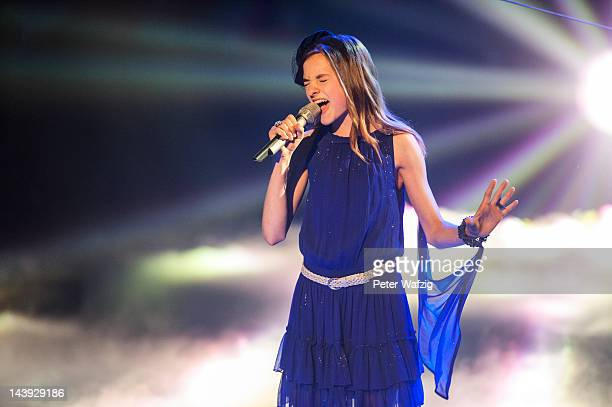 Thirteenyearold Pina performs during DSDS Kids 1st Show at Coloneum on May 05 2012 in Cologne Germany