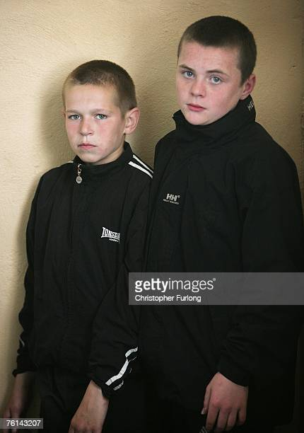 Thirteenyearolds John Thornton and Jamie Whiteman pose in the Alf Love Black Belt Academy in Stacksteads Lancashire England on August 15 2007 in...