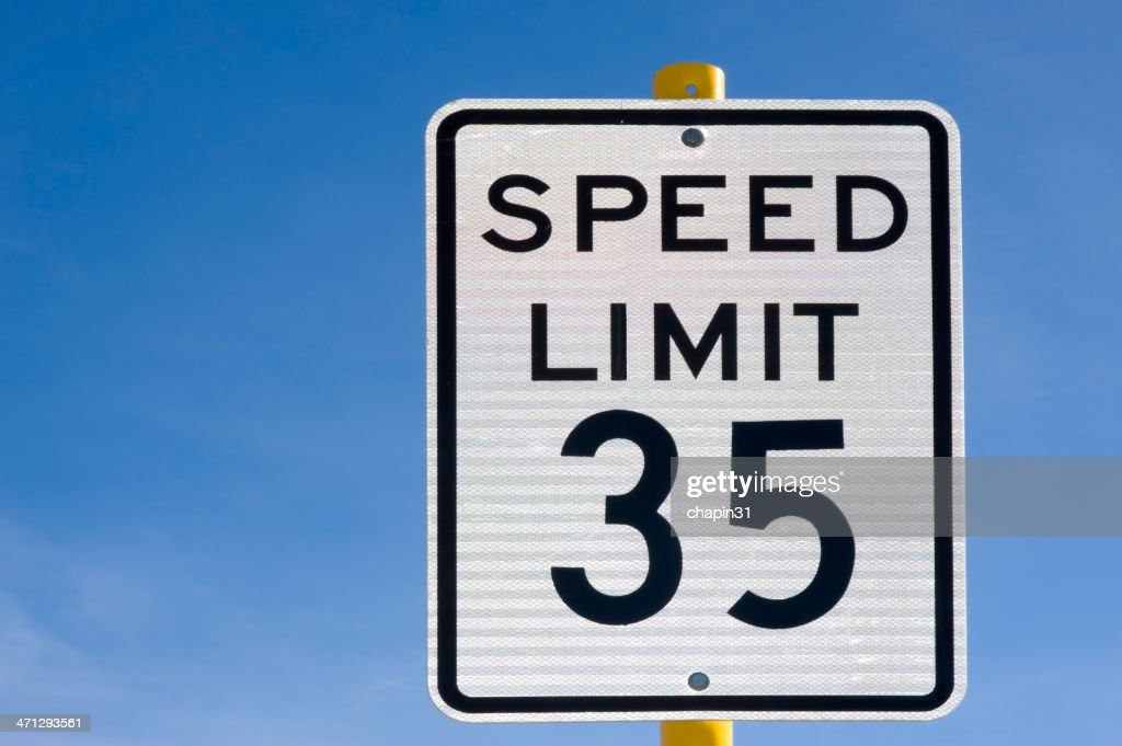 Thirty Five 35 Miles Per Hour Speed Limit Sign Stock Photo | Getty ...