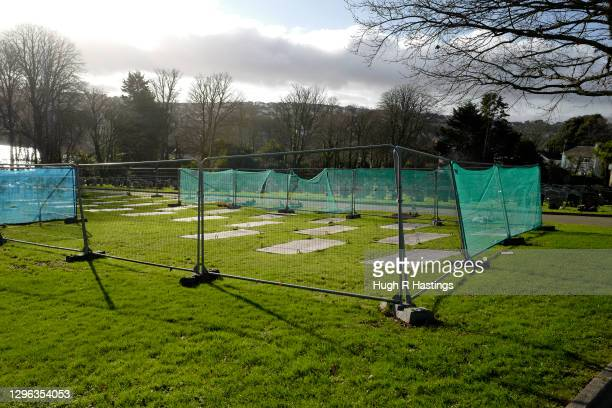 Thirty graves which have been dug by Falmouth Council in Falmouth Cemetery in preparation to receive the victims of Covid-19 on January 14, 2021 in...
