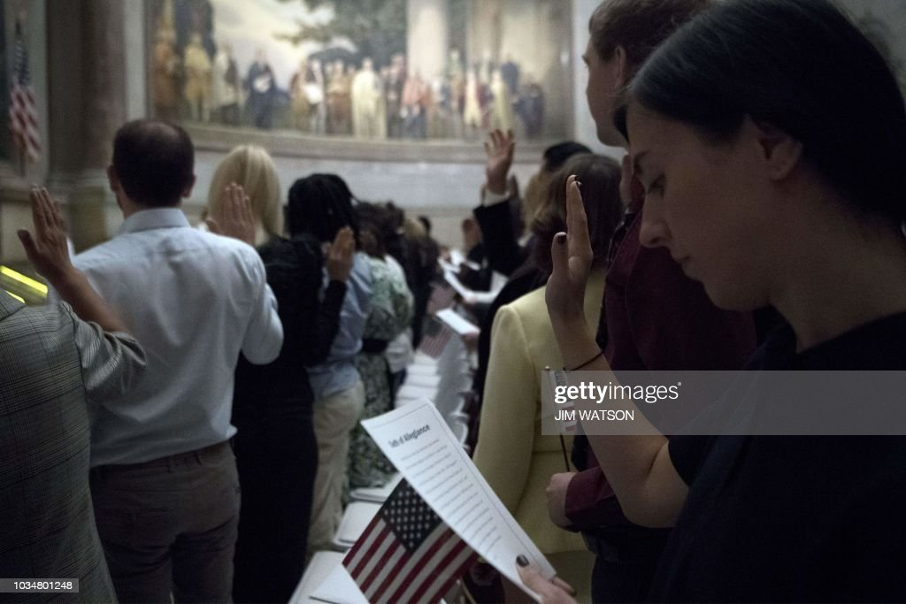 Naturalization Ceremony Held At National Archives On Citizenship Day