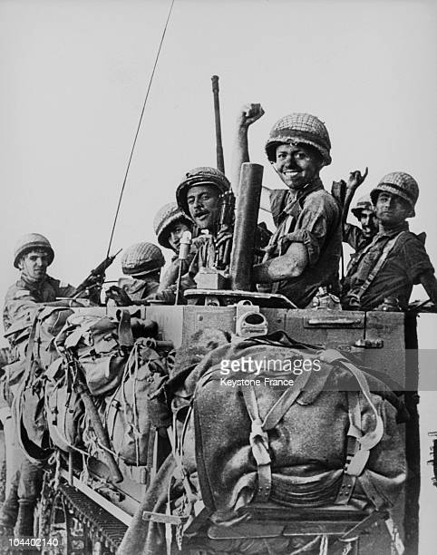 Thirty six hours after the beginning of the Six Day war the Israeli victory is total on all fronts On June 8 Israeli soldiers celebrate their victory...