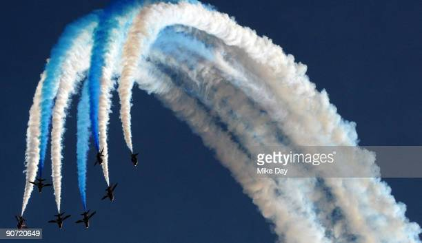 Thirty year old British Aerospace Hawk aircraft the Red Arrows perform during the RAF Leuchars Air Show on September 12 2009 in St Andrews Scotland...