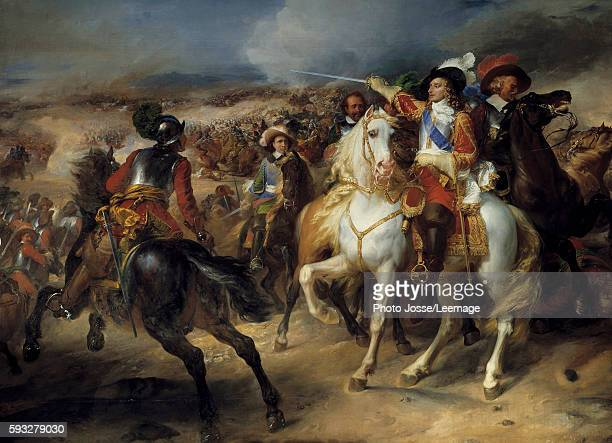 'Louis II de Bourbon Prince de Conde at the battle of Lens 28 August 1648 victory over the Spanish leading by Archduke Leopold ' Representation of...