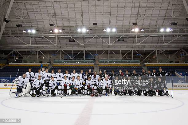 Thirtynine NHL rookies and prospects attending the 2015 NHLPA Rookie Showcase pose for a group photo at Mattamy Athletic Centre on September 1 2015...