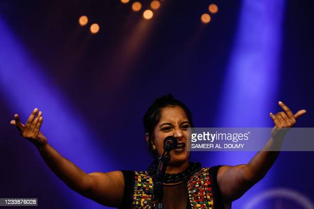 Thirty-six-year-old French singer and songwriter of electro-pop Maloya Maya Kamaty from La Reunion island performs on the 1st day of the 29th edition...