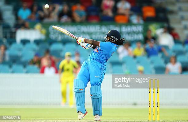 Thirush Kamini of India bats during game one of the Women's ODI series between Australia and India at Manuka Oval on February 2 2016 in Canberra...
