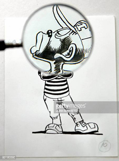 This 01 July 2005 image taken in Mexico City shows the 1940s cartoon character called Mimin Pinguin created by writer Yolanda Vargas and sketched by...