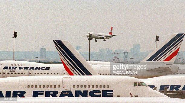 This 01 June 1998 file photo shows Air France jetliners on the tarmac at Charles de Gaulle Airport in Roissy France French authorities cancelled Air...