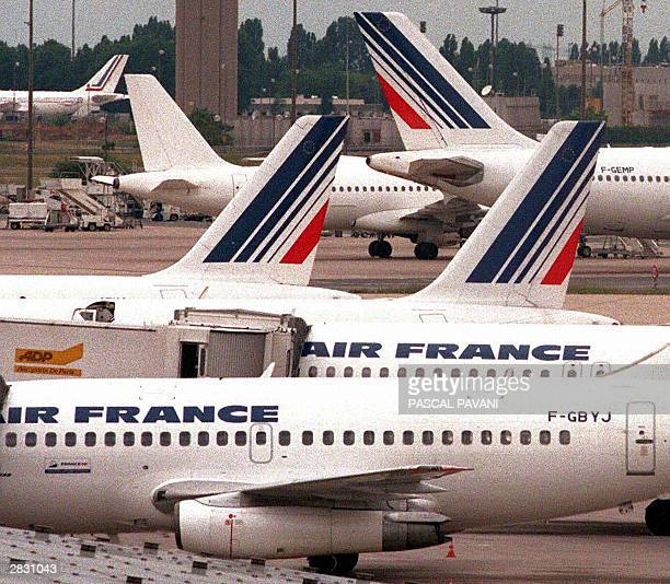 This 03 June 1998 file photo shows Air France jetliners on the tarmac at Charles de Gaulle Airport in Roissy France French authorities cancelled Air...
