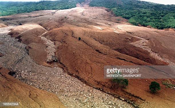 This 03 November aerial view shows the mud avalanche that buried five settlement in the Posoltega area in Nicaragua 140kms northwest of Managua The...
