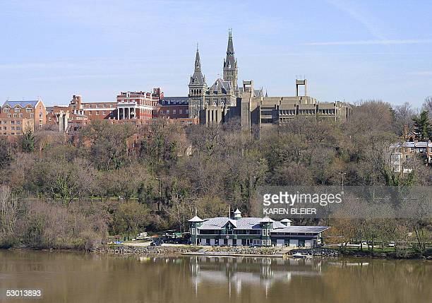 This 05 April 2005 view shows the spires of Healy Hall on the Georgetown University campus in Washington DC Georgetown University founded in 1789 is...
