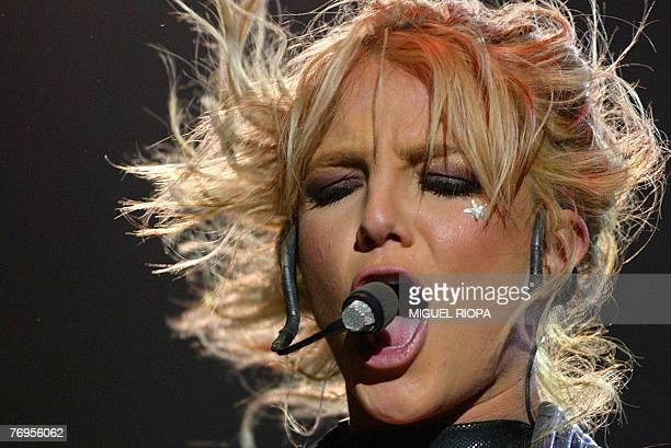This 05 June 2004 file photo shows US pop idol Britney Spears singing in concert at the sixday music festival Rock in Rio in Lisbon Portugal Spears...