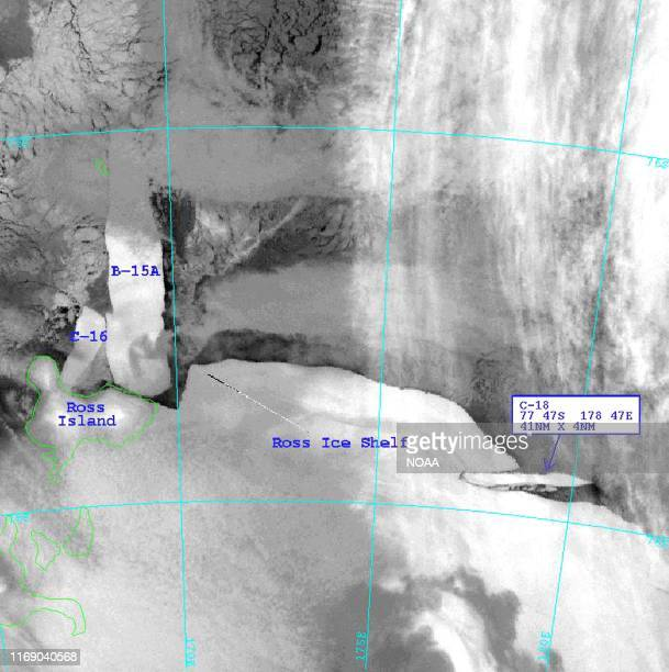 This 05 May 2002 image obtained 09 May from the National Oceanic and Atmospheric Administration shows an iceberg designated C18 newly calved from the...