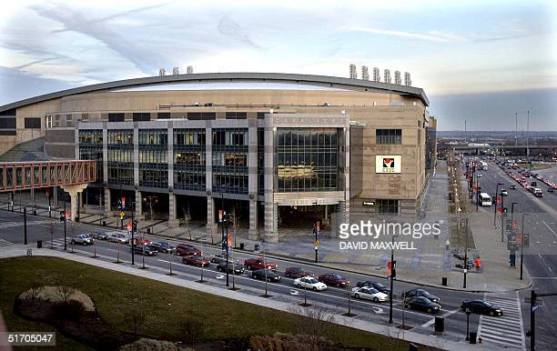 This 06 February 2002 photo shows an exterior view of Gund Arena in Cleveland OH the home arena of the Cleveland Cavaliers AFP PHOTO/David MAXWELL