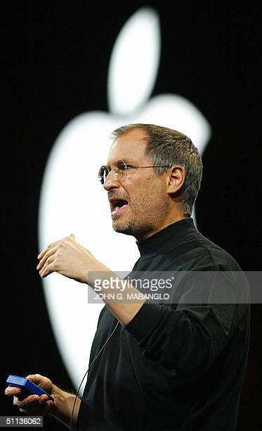 This 07 January 2003 file image shows Apple Computer CEO Steve Jobs speaking at the MacWorld Expo 07 January 2003 in San Francisco California Jobs...