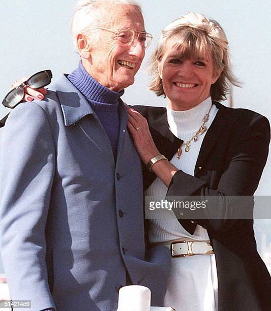 This 09 April 1995 file photo shows French undersea explorer JacquesYves Cousteau posing with his wife Francine Cousteau died 25 June at the age of...