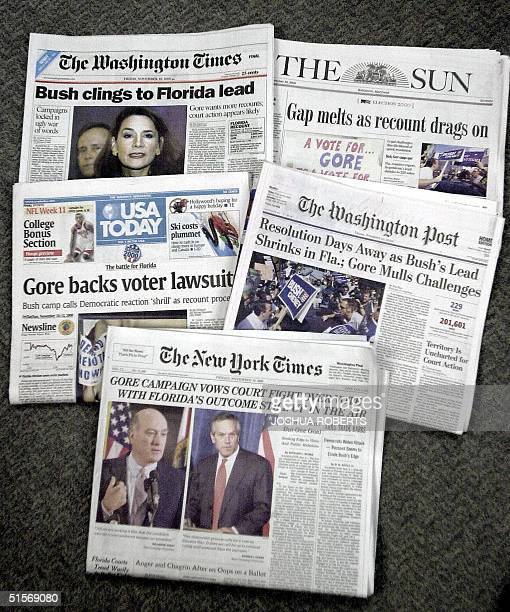 This 10 November 2000 image shows the front page of five US daily newspapers indicating that the US Presidential Election is still up in the air...