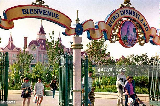 This 10 September 1992 photo shows the entrance to 'Eurodisney' at Marne-la-Vallee outside Paris, France. AFP PHOTO