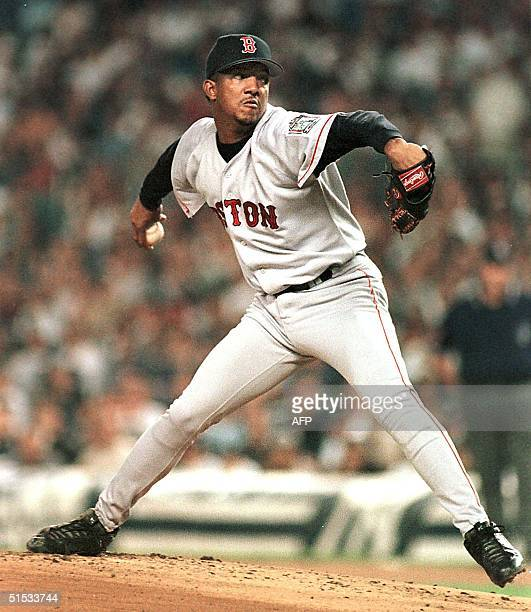 This 10 September 1999 file photo shows Boston Red Sox ace pitcher Pedro Martinez winding up for a pitch during a game against the New York Yankees...