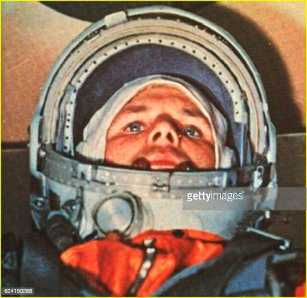 This 12 April 1961 file photo shows Soviet cosmonaut Yuri Alexeyevich Gagarin in the Vostok 1 command capsule Gagarin became the first man in space...