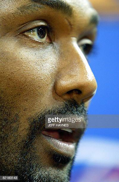 This 12 June shows Karl Malone of the Los Angeles Lakers answering questions before practice for the NBA Finals against the Detroit Pistons at The...