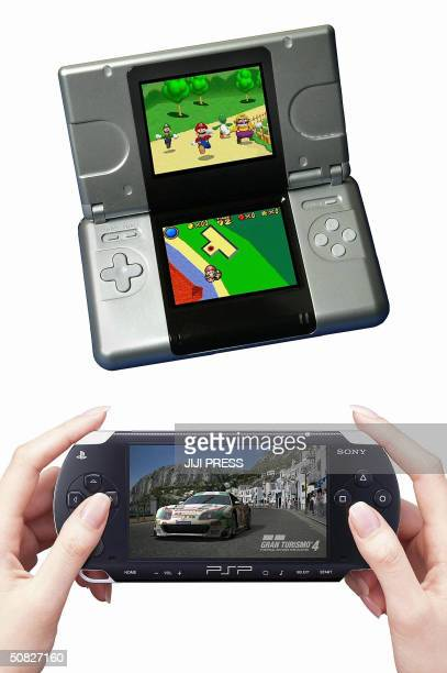 This 12 May 2004 combo photo shows a new portable game console DS of Nintendo and new console PlayStation Portable of Sony Computer Entertainment...