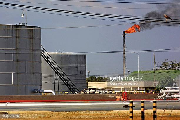 This 13 December 2002 photo shows a view of an oil refinery of the PDVSA Venezuelan oil company in the oil port of Tia Juana Venezuela 50 km from...