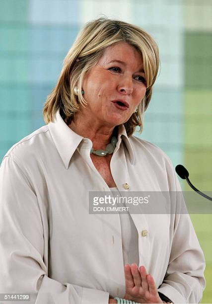 This 15 September 2004 file photo shows lifestyle diva Martha Stewart at a news conference in New York saying she would seek to serve her fivemonth...