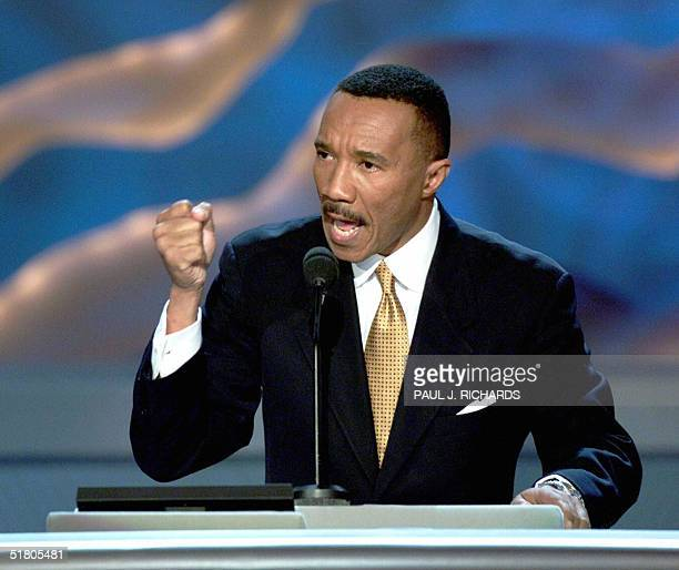 This 17 August 2000 file photo shows NAACP President Kweisi Mfume speaking to the Democratic National Convention at the Staples Center in Los Angeles...