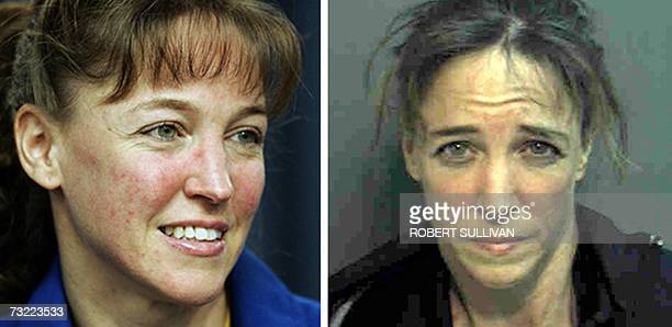This 17 July 2006 file photo at left shows Mission Specialist Lisa Nowak of the US space shuttle Discovery during a press conference after...