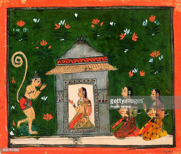 This 17thcentury Deccanstyle illustration of a scene in the Ramayana shows the monkey general Hanuman before Rama's wife Sita The Ramayana is the...