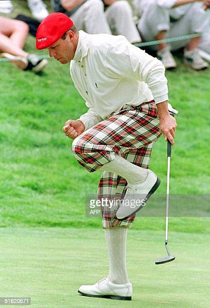 This 19 June 1998 file photo shows US golfer Payne Stewart reacting to a birdie putt during the 1998 US Open Championship in San Francisco CA Stewart...