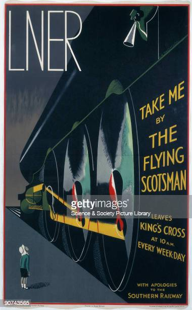 This 1932 poster depicts the London North Eastern Railway and the Flying Scotsman as the embodiment of speed and modernity whilst having a sly dig at...