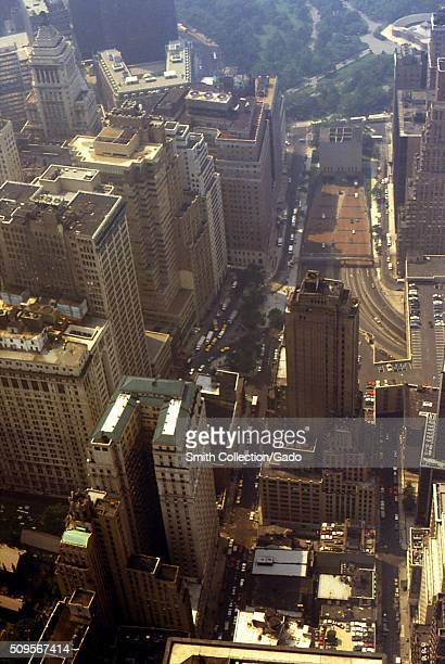 This 1988 aerial view of Manhattan was taken while looking south from the 110th floor of the former World Trade Center Tower 2 also known as the...