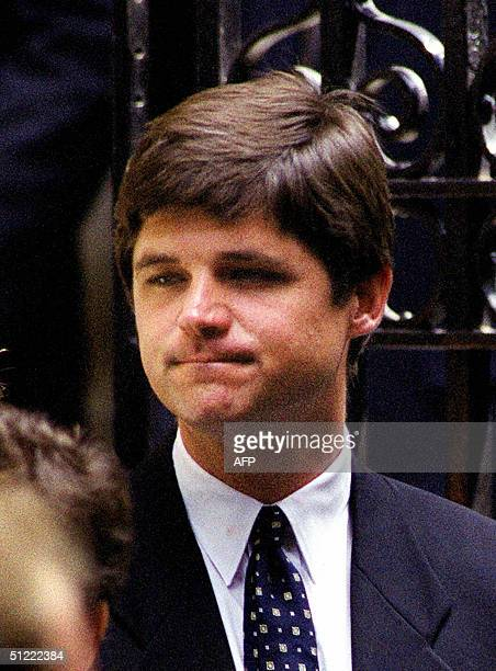 This 23 July file photo shows William Kennedy Smith leaving the Church of St Thomas More in New York after a private memorial mass for his cousin...