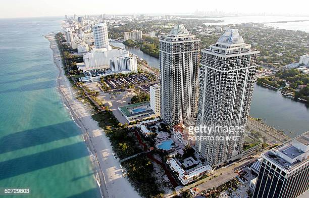 This 24 April 2005 aerial view shows Miami Beach Miami is 105 years old and the eleventh largest metropolitan area in the US According to the US...