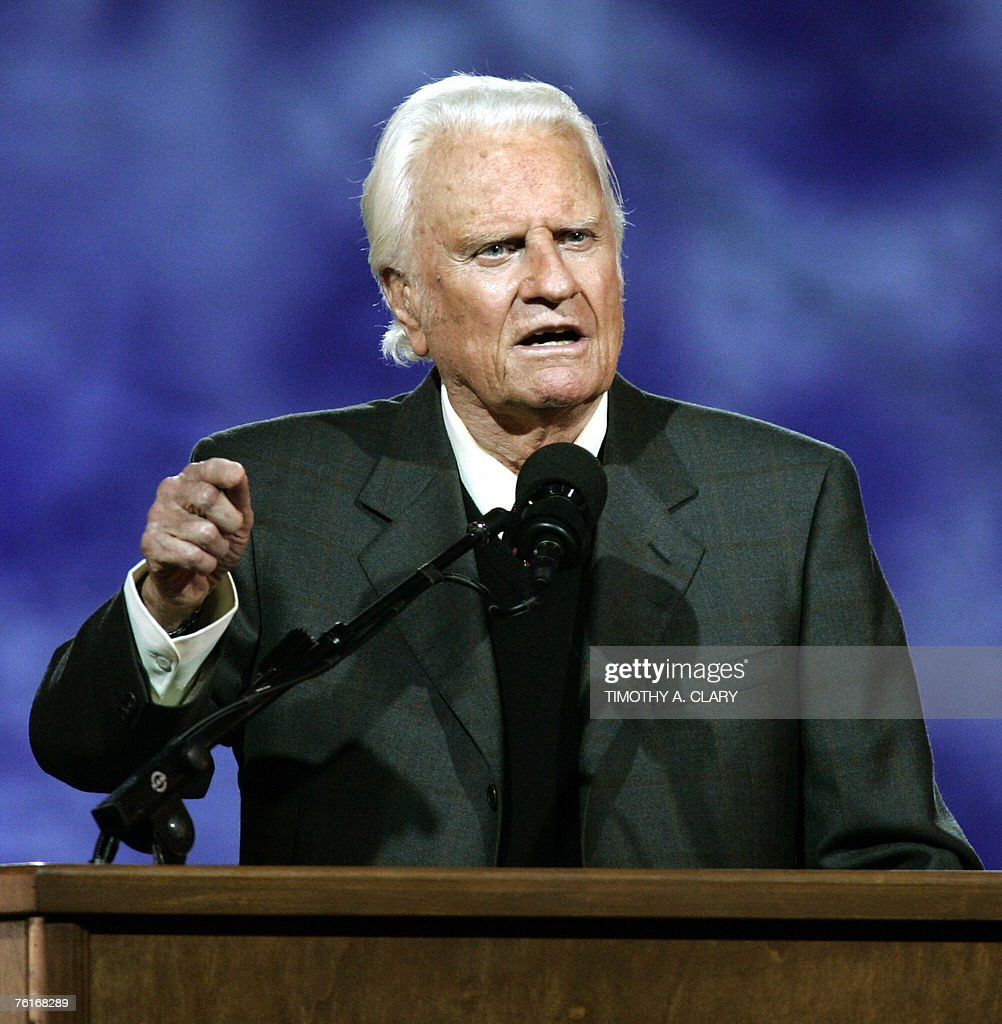 This 24 June 2005 file photo shows US evangelist Billy Graham delivering his message during the Billy Graham Crusade at Flushing Meadows Park in Flushing Meadows, New York. Graham, 88, has been hospitalized 18 August 2007 for intestimal bleeding, though the condition is apparently not life threarening. AFP PHOTO/FILES/Timothy A. CLARY