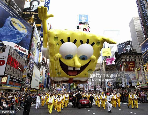 This 25 November 2004 file photo shows SpongeBob SquarePants during the Macy's Thanksgiving Day Parade in New York City US conservative groups are...