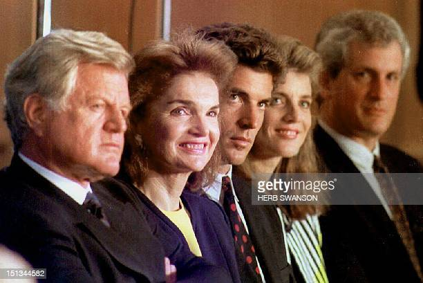 This 28 May 1992 file photo shows members of the Kennedy family Sen Edward Kennedy Jacqueline Kennedy Onassis John F Kennedy Jr Caroline Kennedy...