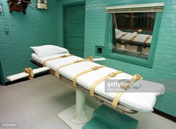 This 29 February photo shows the death chamber at the Texas Department of Criminal Justice Huntsville Unit in Huntsville Texas where convicted...