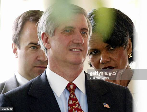 This 30 July 2003 file photo shows US National Security Advisor Condoleezza Rice White House Chief of Staff Andrew Card and White House spokesman...