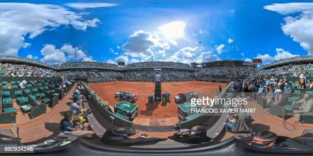 This 360 image shows a general view of the Roland Garros central court Philippe Chatrier during the game beetwen Spain's Carla Suarez and Romania's...